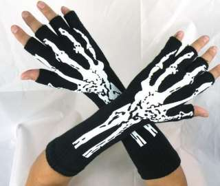 NEW SKELETON BONES GLOVES GOTHIC BURLESQUE PUNK COSTUME