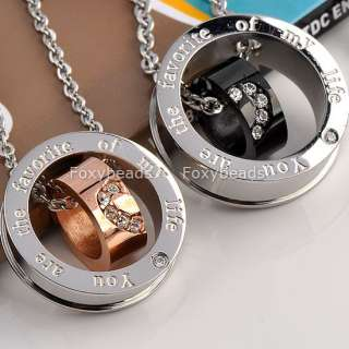 Stainless Steel CZ Crystal Couple Lover Pendant Necklaces Charm