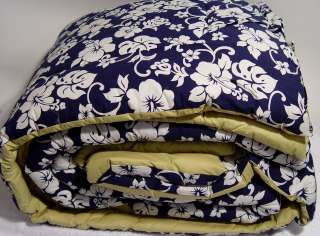 NEW Tommy Hilfiger Blue White Hibiscus Floral KING Comforter