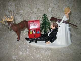 HUMOROUS WEDDING DEER HUNTER & FISHING CAKE TOPPER