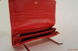 Michael Kors Jet Set Red Leather Carry All Clutch Wallet