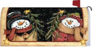 Primitive Wishing Snowman Snowlady Christmas Winter Magnetic Mailbox