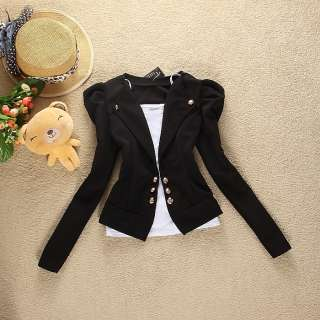Women Slim Puff Sleeves Casual Outerwear Suit Jacket 2691#