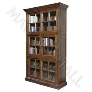 Solid Oak Wood Office 6 Door Glass Bookcase Cabinet