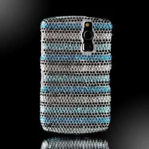 Blue Black & Silver Stripes Crystal Art bling cover faceplate for