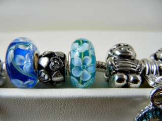 PANDORA .925 STERLING SILVER BRACELET MOTHERS DAY TURQUOISE 19 CHARM