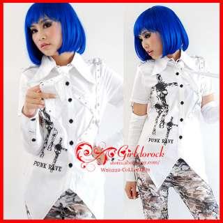 PUNK Kera Visual Y171 Shirt WHITE +remove Sleeve +TIE S
