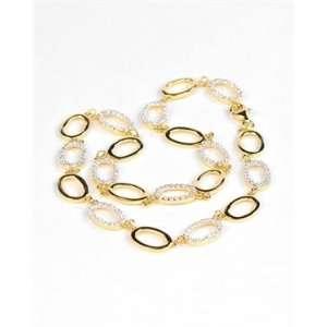 Sterling Silver CZ Oval Link Necklace   JewelryWeb Jewelry