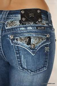 NEW Miss Me Jeans Black LACE Silver crystals studs stretch FLAP