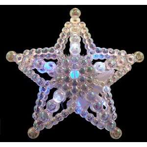 Changing Lighted Beaded Star Christmas Tree Topper   Blue White Lights