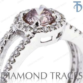 73 Carat Ideal Cut Pink SI1 Round Diamond 14k Gold Halo Engagement