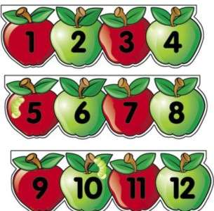 Apple NUMBER LINE Teacher Preschool BULLETIN BOARD SET