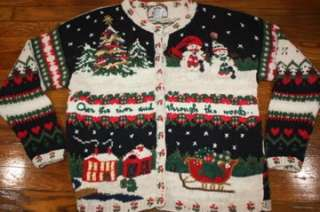 XL* LIGHT UP ugly christmas cardigan sweater* battery powered lighted
