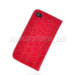 LEATHER WALLET FLIP POUCH CASE COVER FOR APPLE IPHONE 4 4G RED