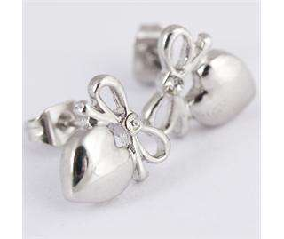 PAIR New Cute Silvery Bow Tie Crystal Heart Stud Earrings Ear Nail