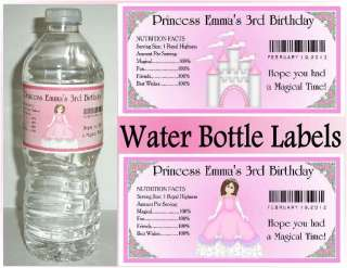 20 PRINCESS BIRTHDAY PARTY FAVORS ~ WATER BOTTLE LABELS