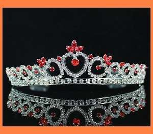ROYAL RHINESTONE TIARA COMB BRIDAL WEDDING PROM T311RED