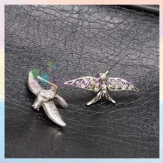 Vintage Silver Tone Bird Swallow Animal Ear Studs Earrings Rhinestone