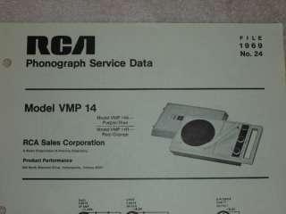 RCA 1969 Phonograph/Record Player VMP 14 SERVICE MANUAL