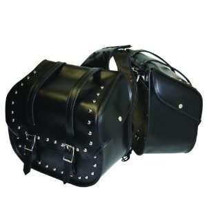 2pc Heavy Duty Waterproof PVC Studded Motorcycle Saddlebag