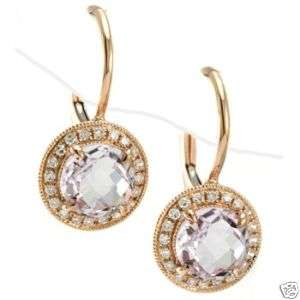 PINK AMETHYST DIAMONDS 14K ROSE GOLD LEVERBACK EARRINGS
