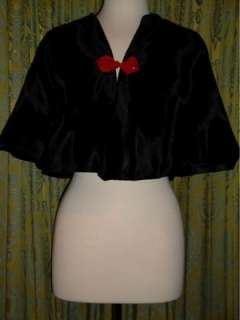 HANDMADE Black Faux Fur CAPE with Red Chinese Button Clasp sz MED