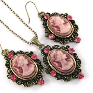 Antique Vintage Style Pink Cameo Rhinestone Necklace & Earrings Set