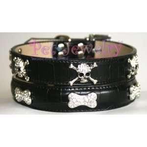 Dog Collar and Leash Set   10 inch Swarovski Crystal Bone Dog Collars
