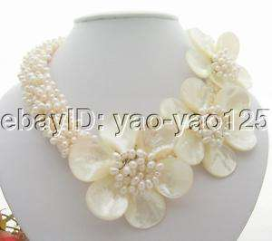 6Strds White Pearl&Shell Flower Necklace