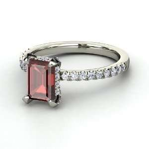 Reese Ring, Emerald Cut Red Garnet 14K White Gold Ring
