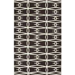 Barb Wire Winter White and Wenge Wool Area Throw Rug