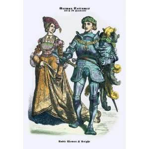 German Costumes: Noble Woman and Knight 24x36 Giclee