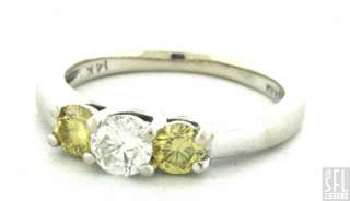 KUBER 14K WHITE GOLD 1.0CT YELLOW/WHITE DIAMOND WEDDING RING SIZE 7
