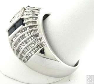 HEAVY 18K WHITE GOLD 2.58CTW DIAMOND/BLUE SAPPHIRE DOME COCKTAIL RING