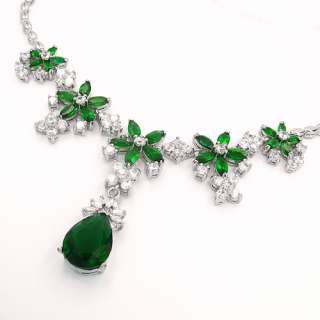 FASHION LADY JEWELRY GREEN EMERALD WHITE GOLD GP PENDANT NECKLACE NECK