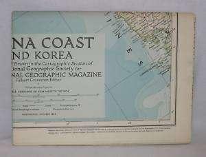 1953 National Geographic Large Map China Coast & Korea