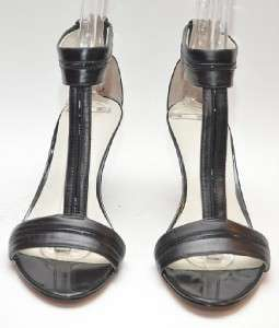 Briella Black Leather T Strap Sandal Heel Womens Shoes 8 M