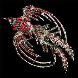 Phoenix Rebirth Pin Brooch Red Swarovski Crystal Bird Peacock