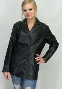 VTG Black LAMBSKIN Leather Fitted TRAVEL Coat JACKET XL
