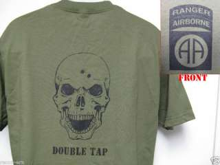 82ND AIRBORNE RANGER T SHIRT/ SKULL DOUBLE TAP