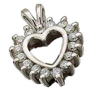 14Kt White Gold Charming Diamond Heart Pendant Jewelry Days Jewelry