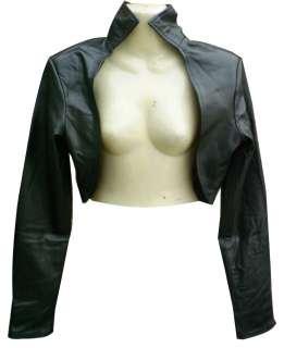 Ladies Black Leather Bolero Jacket New All Sizes