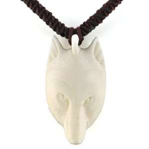 Hand Carved Wolf Head Bone Pendant Evolatree Jewelry