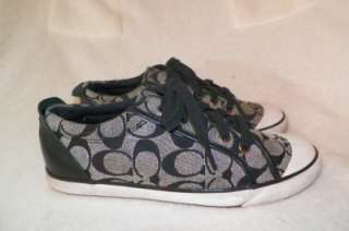 Womens COACH Barre Black Whie Logo Sneakers Designer Shoes Size 8.5