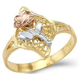 10   14k Three Color Gold Yellow White and Rose Flower Ring Jewelry