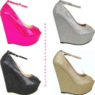 LADIES/WOMENS SEQUIN HEELS WEDGE OUT GOING PARTY SHOES/BOOTS