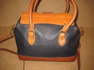 DOONEY & BOURKE Vintage Rare Navy Tan Leather Boston Lock Satchel