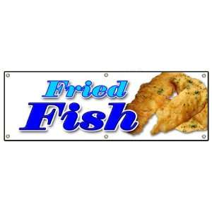 72 FRIED FISH BANNER SIGN fry fish deep seafood sea food
