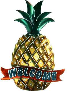 New PINEAPPLE WELCOME SIGN METAL WALL ART Tropical Decor Beach