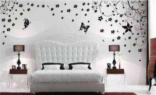Large Vine Flower Butterfly Wall Decor Stickers Decals
